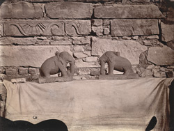 Two small carved elephants from the Mahadeva Temple, Baijnath, Shahabad District.